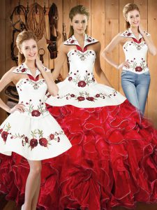 Luxury White And Red Ball Gown Prom Dress Military Ball and Sweet 16 and Quinceanera with Embroidery and Ruffles Halter Top Sleeveless Lace Up