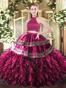 Vintage Embroidery and Ruffles 15th Birthday Dress Fuchsia Backless Sleeveless Floor Length