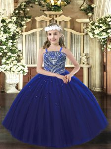 Fashionable Royal Blue Sleeveless Tulle Lace Up Pageant Gowns for Party and Quinceanera