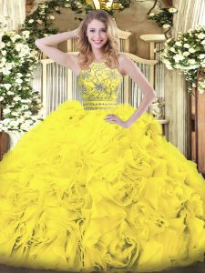Luxury Gold Sleeveless Floor Length Beading and Ruffles Zipper Quince Ball Gowns