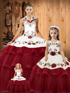 Wine Red Sleeveless Embroidery and Ruffled Layers Lace Up Quinceanera Dresses