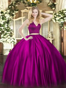 Sleeveless Ruching Zipper Quince Ball Gowns