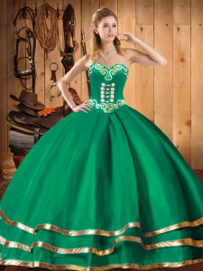 Sophisticated Green Sleeveless Floor Length Embroidery Lace Up 15 Quinceanera Dress