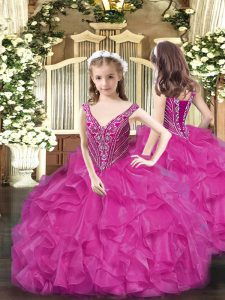 Most Popular Floor Length Fuchsia Pageant Dresses V-neck Sleeveless Lace Up