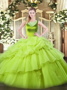 Floor Length 15th Birthday Dress Organza Sleeveless Beading and Pick Ups
