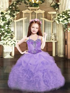 Most Popular Lavender Sleeveless Beading and Ruffles and Pick Ups Floor Length Glitz Pageant Dress