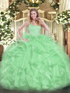 Beading and Ruffles Vestidos de Quinceanera Zipper Sleeveless Floor Length