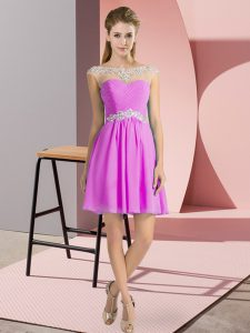 Lilac Chiffon Lace Up Scoop Cap Sleeves Mini Length Prom Evening Gown Beading
