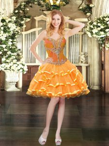 Mini Length Orange Prom Dresses Organza Sleeveless Beading and Ruffled Layers