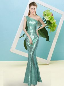Chic Sequined Sleeveless Floor Length Evening Dress and Sequins