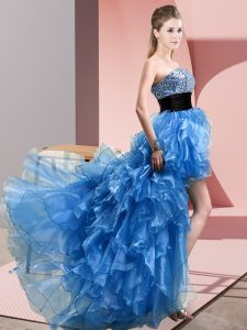 Baby Blue A-line Beading and Ruffles Homecoming Dress Lace Up Organza Sleeveless High Low