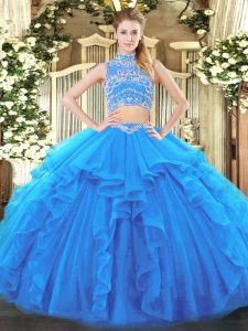 Two Pieces Quinceanera Dresses Baby Blue High-neck Tulle Sleeveless Floor Length Backless