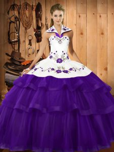 Sweep Train Ball Gowns Quince Ball Gowns Purple Halter Top Organza Sleeveless Lace Up