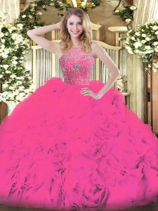 Hot Pink Ball Gowns Beading and Ruffles Sweet 16 Dress Zipper Tulle Sleeveless Floor Length