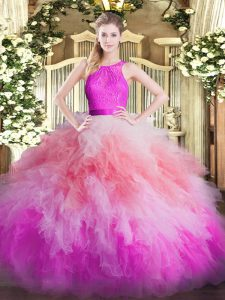 Dramatic Lace and Ruffles Sweet 16 Dress Multi-color Zipper Sleeveless Floor Length