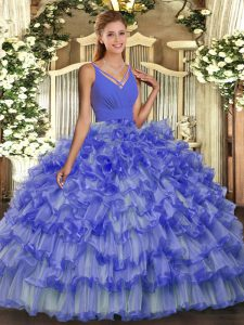 Ball Gowns Quinceanera Gowns Lavender V-neck Organza Sleeveless Floor Length Backless