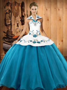 Floor Length Teal Quinceanera Gown Satin and Tulle Sleeveless Embroidery