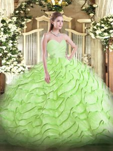 Yellow Green Sweetheart Neckline Beading and Ruffled Layers 15th Birthday Dress Sleeveless Lace Up