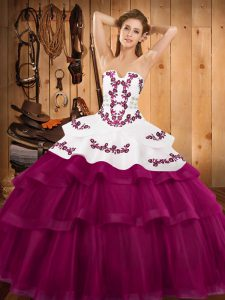 Fuchsia Ball Gown Prom Dress Military Ball and Sweet 16 and Quinceanera with Embroidery and Ruffled Layers Strapless Sleeveless Sweep Train Lace Up