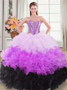 Traditional Multi-color Ball Gowns Sweetheart Sleeveless Organza Floor Length Lace Up Beading and Ruffles Sweet 16 Dresses