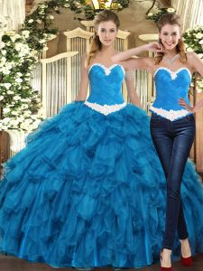Sweetheart Sleeveless Quince Ball Gowns Floor Length Ruffles Teal Tulle