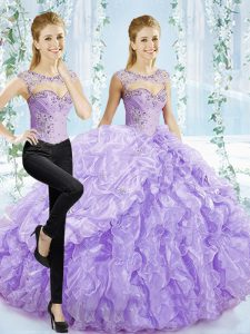 Graceful Lavender Sleeveless Organza Brush Train Lace Up Sweet 16 Dresses for Sweet 16 and Quinceanera