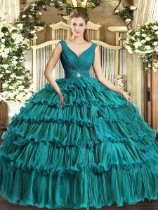 Fancy Teal Backless V-neck Beading and Ruffled Layers Sweet 16 Dress Organza Sleeveless