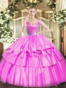 Fuchsia Sleeveless Tulle Zipper Vestidos de Quinceanera for Military Ball and Sweet 16 and Quinceanera