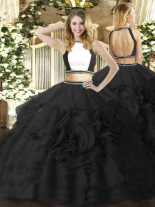 Deluxe Black Tulle Zipper Ball Gown Prom Dress Sleeveless Floor Length Ruffled Layers