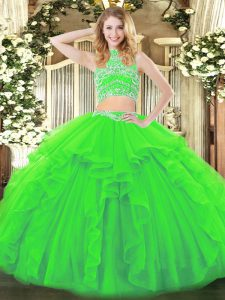 Tulle Sleeveless Floor Length Sweet 16 Dress and Beading and Ruffles