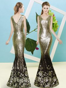 Floor Length Zipper Gold for Prom and Party with Sequins
