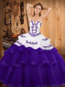 Purple Ball Gowns Embroidery and Ruffled Layers 15th Birthday Dress Lace Up Tulle Sleeveless