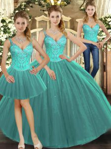 Fantastic Floor Length Ball Gowns Sleeveless Turquoise Quinceanera Gown Lace Up