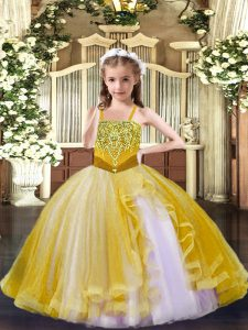 Gold Ball Gowns Beading Pageant Dress for Teens Lace Up Tulle Sleeveless Floor Length