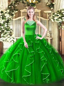 Scoop Sleeveless Quinceanera Dresses Floor Length Beading and Ruffles Green Organza