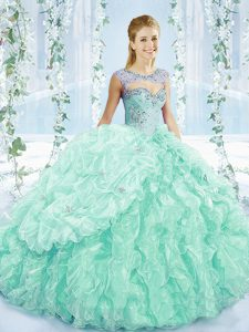 Beading and Ruffles Ball Gown Prom Dress Apple Green Lace Up Sleeveless Brush Train