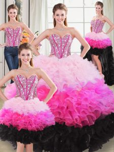 Floor Length Ball Gowns Sleeveless Multi-color Sweet 16 Dresses Lace Up