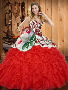 Embroidery and Ruffles Quince Ball Gowns Red Lace Up Sleeveless Floor Length