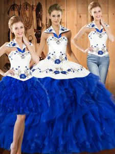 Fine Halter Top Sleeveless Lace Up Quince Ball Gowns Blue And White Satin and Organza
