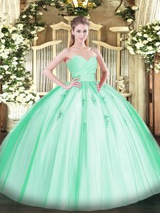 Apple Green Lace Up Sweetheart Beading and Appliques Quinceanera Dresses Tulle Sleeveless