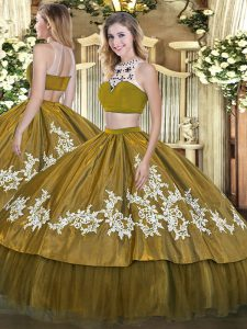 High-neck Sleeveless 15th Birthday Dress Floor Length Beading and Appliques Olive Green Tulle