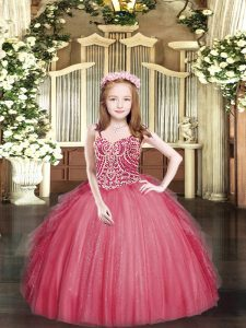 Stunning Floor Length Ball Gowns Sleeveless Coral Red Pageant Dresses Lace Up
