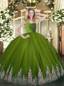 Super Olive Green Zipper Straps Beading and Appliques Quince Ball Gowns Tulle Sleeveless