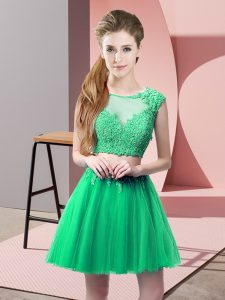 Great Turquoise Prom Party Dress Prom and Party with Appliques Scoop Sleeveless Zipper
