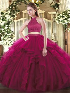 Stunning Floor Length Fuchsia Ball Gown Prom Dress Halter Top Sleeveless Backless