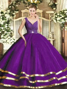 Most Popular Tulle V-neck Sleeveless Backless Ruffled Layers Quinceanera Gowns in Purple