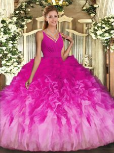 Clearance Multi-color Backless Quinceanera Dress Beading and Ruffles Sleeveless Floor Length