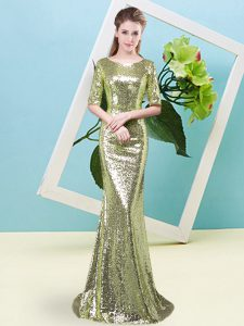 New Style Floor Length Zipper Prom Party Dress Yellow Green for Prom and Party with Sequins