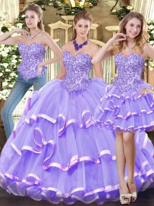 Organza Sweetheart Sleeveless Zipper Appliques and Ruffled Layers Quince Ball Gowns in Lavender