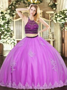 Hot Selling Lilac Zipper Quinceanera Gowns Beading and Appliques Sleeveless Floor Length